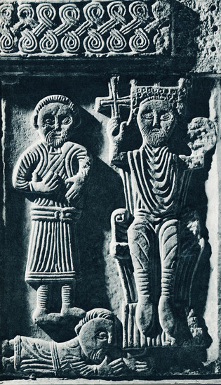 Fig. 32: Representation of a sovereign on a throne; relief placed in the baptistery of the Split cathedral; marble; dimensions 87 × 57 × 12cm. Credit: MHAS archive