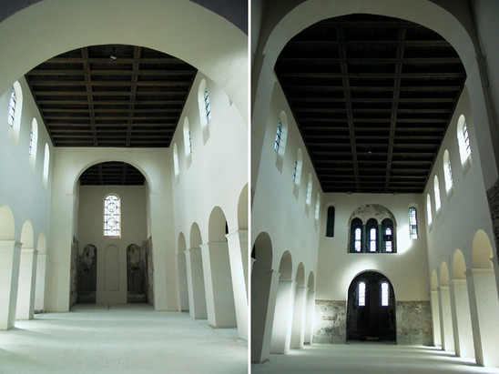 Fig. 11: Interior of Saint Laurentius church, Ename: west oriented choir and east oriented choir. Credit: Daniël Pletinckx – Visual Dimension bvba