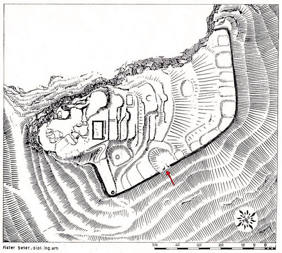Fig. 5: Gradišče above Bašelj. The drawing shows walls, terraces and suggested plans of buildings. The red arrow shows the location in the western wall where excavations took place in 1939 and 1998. Credits: Institute for the Protection of Cultural Heritage of Slovenia, Regional Unit Kranj (Knific 1999a, Fig. 7); drawing by Dr. Peter Fister, 1967