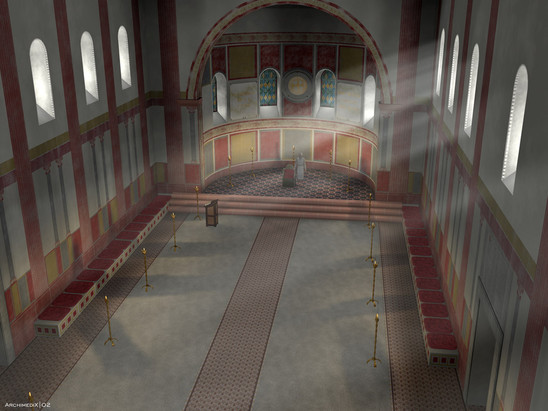 Fig. 12: Pfalz at Ingelheim, 3D reconstruction of the Aula regia single‐nave apsis hall in the south‐west. Credit: Kaiserpfalz Ingelheim, Rekonstruktion: Archimedix GbR, H. Grewe