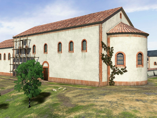 Fig. 14: Pfalz at Ingelheim, 3D reconstruction of the Aula regia single‐nave apsis hall in the south‐west. Credit: Kaiserpfalz Ingelheim, Rekonstruktion: Archimedix GbR, H. Grewe