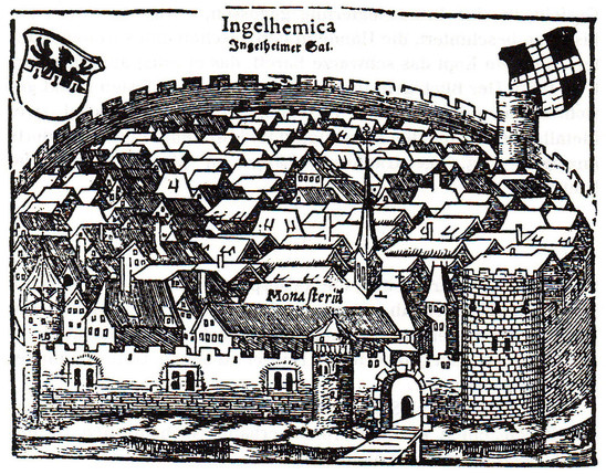Fig. 32: Sebastiana Münster, 'Cosmographia', depiction of Ingelheim, edition of 1550. Credit: Sebastian Münster, Michael Schmalenstroer [CC-PD-Mark] via Wikimedia Commons