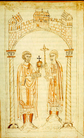 Fig. 33: The abdication of Henry IV in favour of Henry V from the Chronicle of Ekkehard von Aura, ca 1106. Credit: Creators of Chronicle of Ekkehard von Aura [PD‐Art (PD‐old default), PD‐Art (PD‐old)], via Wikimedia Commons