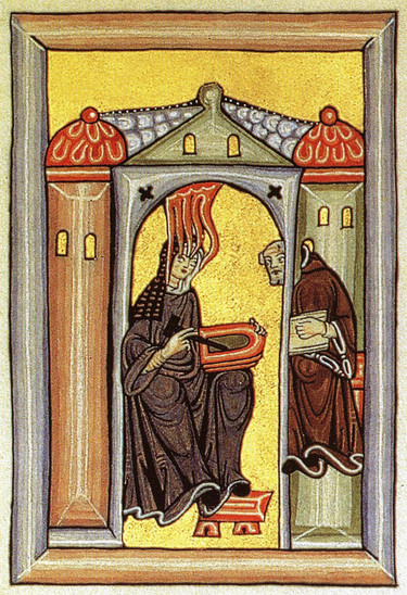 Fig. 34: Illumination from the 'Liber Scivias' showing Hildegard of Bingen receiving a vision and dictating to her scribe and secretary. Credit: Creators of the Rupertsberger Codex of Liber Scivias [Public domain, CC‐PD‐Mark], via Wikimedia Commons