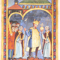 Fig. 42: Henry III at 5th June 1040, at his anniversary of acceptance of reign, Staats‐ und Universitätsbibliothek Bremen. Credit: Unknown, monastery of Echternach [Public domain, PD-Art (PD-100)], via Wikimedia Commons