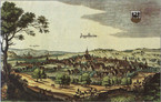 Fig. 50: Coloured engraving of Ingelheim am Rhein by Matthäus Merian, 1645. Credit: Matthäus Merian, [CC-PD-Mark] via Wikimedia commons