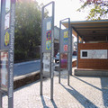 Fig. 55: Information boards on the car park and bus stop at a street called 'Wäschbach'. Credit: Kaiserpfalz Ingelheim