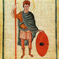 Fig. 8: Louis the Pious, contemporary depiction from 826, Rome, Biblioteca Apostolica Vaticana. Credit: wolpertinger [PD‐Art (PD‐old default)], via Wikimedia Commons