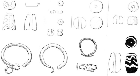 Fig. 12: Grave 78, selection of finds: bead types, temple ring and finger ring. Credit: Peter Baxa