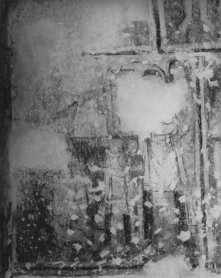 Fig. 18: St George Church in Kostoľany pod Tribečom, southern nave wall, central register, field J8. Donor portrait after its discovery. Credit: The Monumets Board of the Slovak Republic