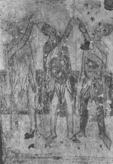 Fig. 19: St George Church, 'Arrival of the Three Magi – Adoration of the Star' on the northern façade of the nave, international style about AD 1000, state in 1965. Credit: The Monumets Board of the Slovak Republic