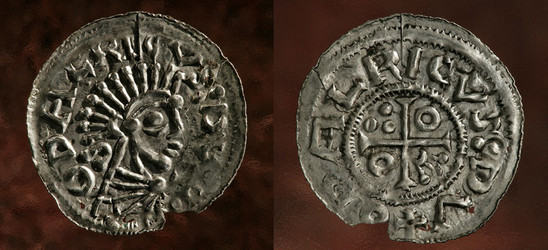 Fig. 20: Denarius of Oldřich I (1012–1033, 1034) from grave 78 of the St George cemetery. Credit: Jan Gloc