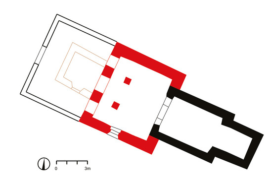 Fig. 23: St George Church in Kostoľany pod Tribečom. Floor plan of the current state, building phases; black – 1st building phase (end of 10th to mid-11th century); red – 2nd building phase (first half of the 13th century); white – 1960s, survey: Geo-cz Tábor. Credit: Kateřina Vytejčková