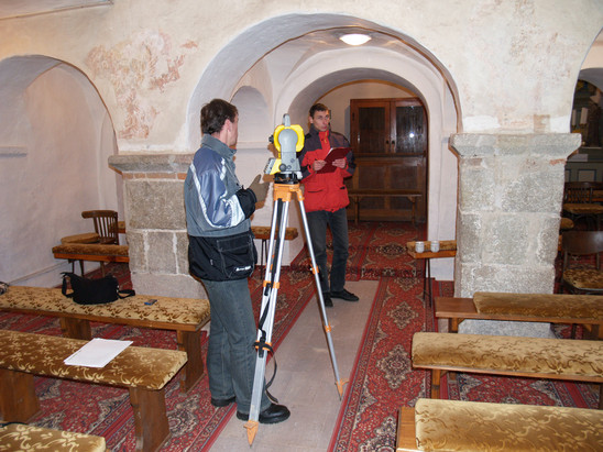 Fig. 36: St George Church, geodetic measurements in the interior, 2006. Credit: The Monuments Board of the Slovak Republic