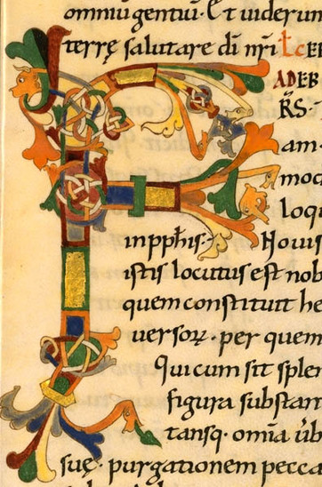 Fig. 11: Initial letter in zoomorphe style, 11th-12th centuries. Credit: BNF, ms. Lat. 889, fol. 13