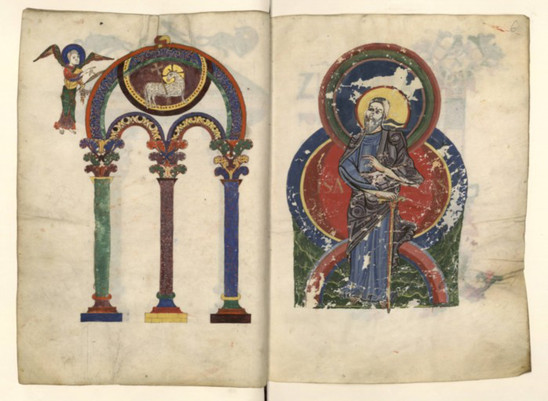 Fig. 13: Heavenly Jerusalem on two folios, 11th-12th centuries. Credit: BNF, ms. Lat. 889, fol. 5v-6