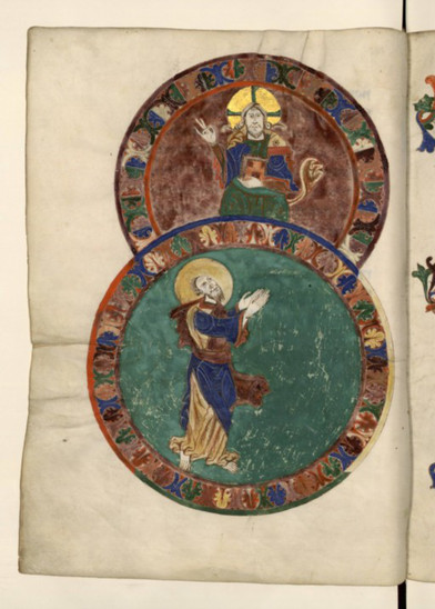 Fig. 14: St Paul receiving the law from Christ Pantocrator, 11th-12th centuries. Credit: BNF, ms. Lat. 889, fol. 7v