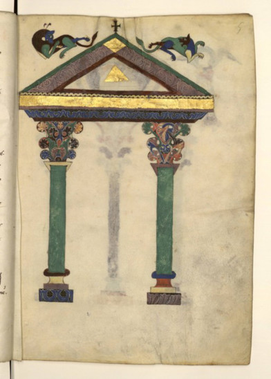Fig. 16: Facade of a Christian temple, with pediment, which reminiscent a late Antiquity theme. Credit: Latin 889, fol. 5