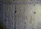 Fig. 28: Montmajour. The name of Riculfus (RICUL) engraved in the 12th century on the ashlar walls of the central chapel of the later Romanesque crypt of Notre-Dame. Credit: A. Hartmann-Virnich