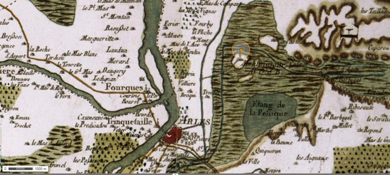 Fig. 3: Extract from the Cassini map (18th century). The marsh between Arles and Montmajour is depicted in green with the pond of 'La Peluque'. Credit: Aix – Marseille Université