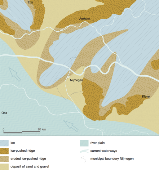 Fig. 1: Situation of the landscape around 130.000 years ago. Credit: Bureau Archaeology and Monuments, City of Nijmegen