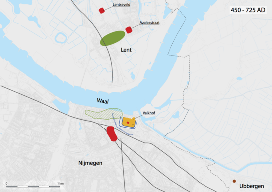 Fig. 13: Nijmegen 450-725, Green = Merovingian settlement, Blue = Ditches, Yellow = Valkhof, Red = Burial grounds. Credit: Bureau Archaeology and Monuments, City of Nijmegen