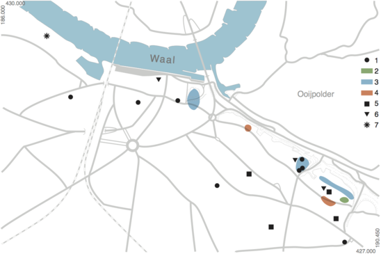Fig. 3: Nijmegen in pre-historic times. 1 – Neolithic burials (5300-2000 BC), 2 – Middle Bronze Age Stone circles (1800-1100 BC) and Late Bronze Age cult site (1100-800 BC), 3 – Cemetery from the Late Bronze Age and Early Iron Age (1100-500 BC), 4 – Middle Iron Age burials (200-250 BC), 5 – Late Bronze Age and Early Iron Age settlement (1100-500 BC), 6 – Late Iron Age settlement(250-19 BC), 7 – Iron Age cult site. Credit: Bureau Archaeology and Monuments, City of Nijmegen
