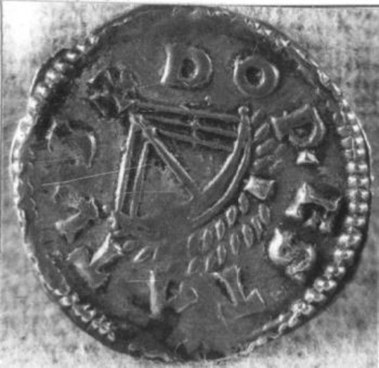 Fig. 31: Coin from Dorestad with a depiction of a ship, 814-840. Credit: Noordelijk Scheepvaartmuseum, Groningen