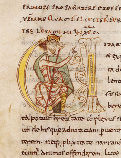 Fig. 34: Charlemagne, in Vita Karoli Magni by Eindhard ca 1050. Credit: Abby Saint- Martial de Limoges