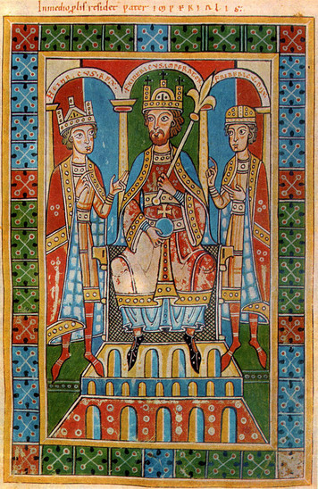 Fig. 35: Frederic I Barbarossa and his sons King Henry VI and Duke Frederick VI. Medieval illustration from the Chronic of the Guelphs, Weingarten Abbey, 1179-1191. Credit: World History Archive