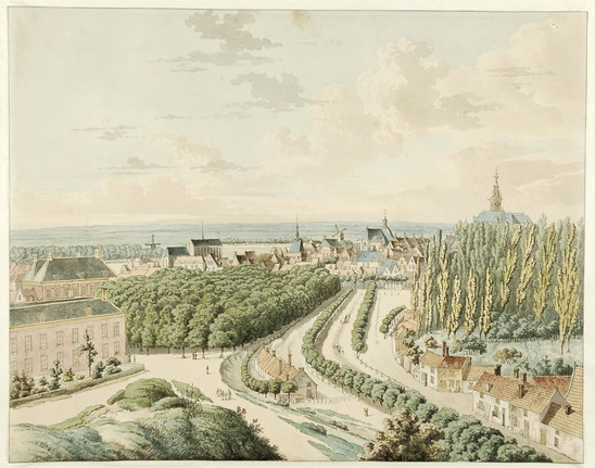 Fig. 38: Watercolour painting by J. van Leeuwen (1822), with on the right the poplars planted after the demolition of the palace. Credit: Museum het Valkhof, Nijmegen