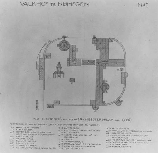 Fig. 39: A map with legend from a master carpenter in 1726, redrawn by J. J. Weve, 1910. Credit: Regional Archives Nijmegen