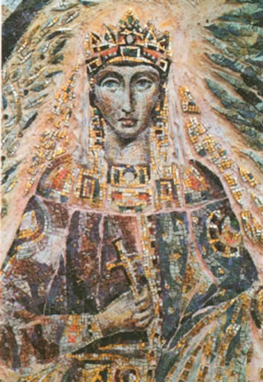 Fig. 45: Theophano, mosaic by Pelagia Angelopoulou, 1991, St Pantaleonkirche Köln. Credit: Herman Koldeweijn