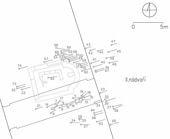 Fig. 10: Extent of the uncovered parts of the cemetery around the Church of the Virgin Mary at Prague Castle, 10th–13th centuries. Credit: Institute of Archaeology of the Academy of Sciences of the Czech Republic, Prague Castle