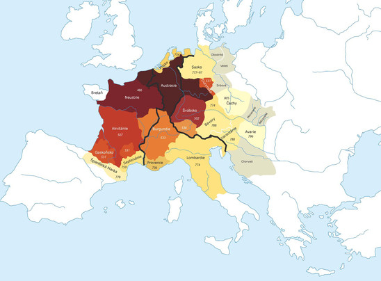 Fig. 19: Map of early medieval Western Europe. The numbers mark the years of the annexation to the empire, the black line marks the borders after the division into Western, Mid and Eastern Francia (Francia Occidentalis, Media, Orientalis). Credit: Institute of Archaeology of the Academy of Sciences of the Czech Republic, Prague Castle