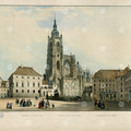 Fig. 22: St Vitus Cathedral from the 3rd courtyard, around 1840, F. X. Sandmann, coloured lithography. Credit: The City of Prague Museum