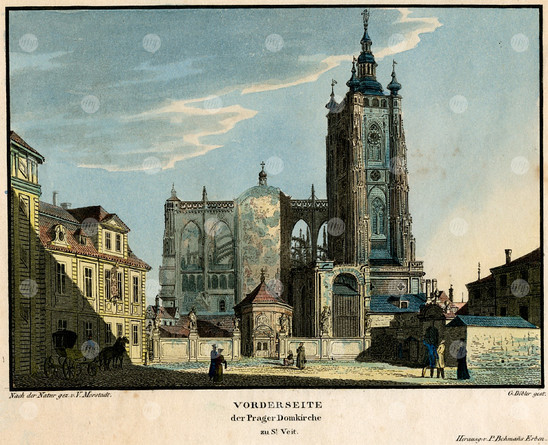 Fig. 23: Western facade of St Vitus Cathedral by Vincent Morstadt, 1825, coloured copper engraving. The chapel of St Adalbert in front of the cathedral was designed by U. Aostalli and built 1576, demolished in 1879 within renovation and completion of the cathedral. Credit: The City of Prague Museum
