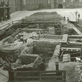 Fig. 28: Archaeological excavations in the 3rd courtyard in 1925. Floor plan of a church (today ascribed to St Bartholomew) in the centre. Today its remains are protected by a concrete ceiling, carrying the pavement of the courtyard. Credit: The Archive of the Prague Castle