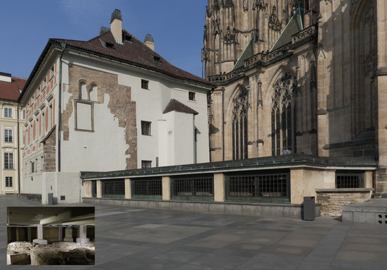 Fig. 31: Covered area of the archaeological preserve between the Cathedral and the building of the Old Provost's House in the 3rd courtyard. The remains of St Vitus Basilica and a part of the bishop's area are visible between the bars. Credit: Institute of Archaeology of the Academy of Sciences of the Czech Republic, Prague Castle