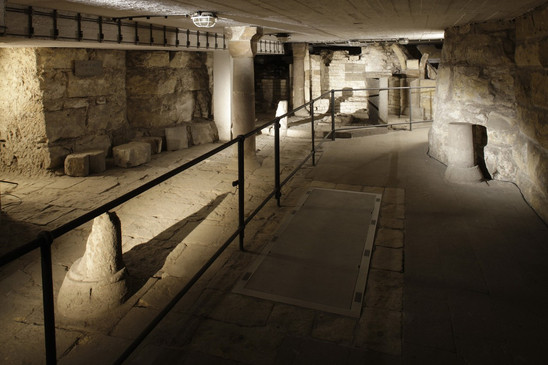 Fig. 33: The remains of the Crypt of SS Cosmas and Damian from the Romanesque Vitus Basilica. The area of the archaeological preserve in the passage to the new royal burial chamber beneath St Vitus Cathedral. Credit: Martin Frouz