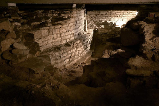Fig. 34: The remains of the southern apse of St Vitus Rotunda in the archaeological preserve within the new royal burial chamber beneath St Vitus Cathedral. Credit: Institute of Archaeology of the Academy of Sciences of the Czech Republic, Prague Castle