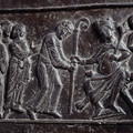 Fig. 38: Bishop Adalbert and Bohemian envoys at emperor Otto II's in Verona, ad 983. Bronze door of the cathedral at Gniezno, around 1175. Credit: Jaroslav Prokop