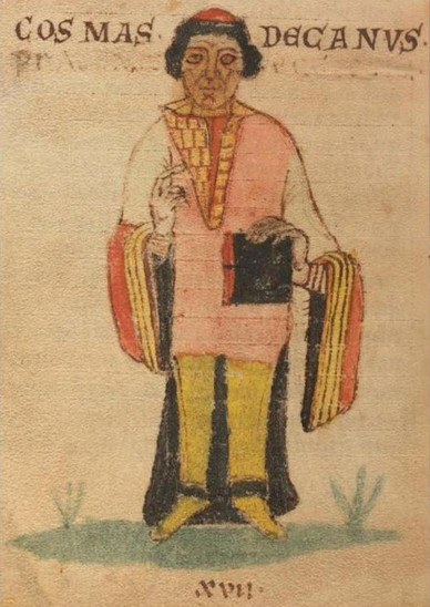 Fig. 40: Representation of Cosmas in the Leipzig copy of his 'Chronicle of the Bohemians', one of the earliest manuscripts from the end of the 12th century. From 1839 to World War II, it was kept at Leipzig, Germany. Credit: Wikimedia Commons