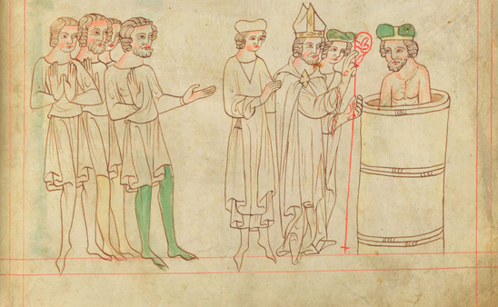 Fig. 5: Baptism of Duke Bořivoj of Bohemia, historical event at the end of the 9th century, illustration in the so-called Bible of Velislav from the second quarter of the 14th century. Credit: National Library of the Czech Republic