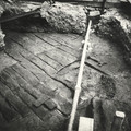 Fig. 54: Timber-lined road from the Early Middle Ages, uncovered in the 3rd courtyard in 1927. Apparently it led to the main western entrance of the castle. Credit: Institute of Archaeology of the Academy of Sciences of the Czech Republic, Prague Castle
