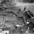Fig. 55: The remains of domestic wooden architecture were found during the archaeological excavation in the 3rd courtyard, in front of the western facade of the cathedral in the 1920s. Credit: Institute of Archaeology of the Academy of Sciences of the Czech Republic, Prague Castle