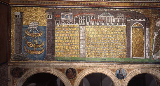 Fig. 1: Mosaic at Sant'Apollinare Nuovo in Ravenna depicting the Port of Classe. Credit: Municipality of Ravenna