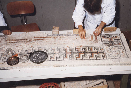 Fig. 13: Restoration of a mosaic of the Basilica of San Severo in Classe made by Scuola per il Restauro del Mosaico of SBAP-RA. Credit: B. Babini, courtesy of SBAP-RA (MIBAC-Italy)
