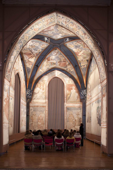 Fig. 14: Detached frescoes from the Church of Santa Chiara at the former refectory of The National Museum in Ravenna. Credit: P. Bernabini, courtesy of SBAP-RA (MIBAC-Italy)
