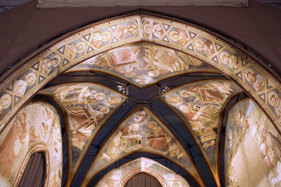 Fig. 15: Detail of frescoes from the Church of Santa Chiara at the former refectory of The National Museum in Ravenna. Credit: P. Bernabini, courtesy of SBAP-RA (MIBAC-Italy)